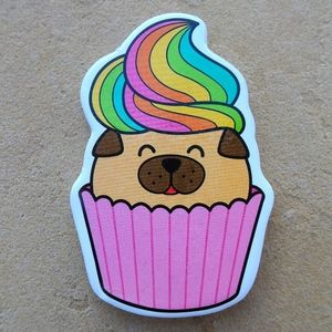 Rainbow Frosting Puppy Cupcake Dog Lover Magnet